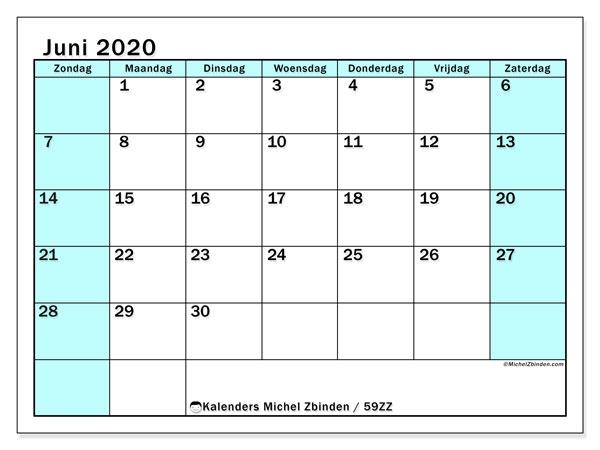Kalender juni 2020, 59ZZ. Gratis afdrukbare kalender.
