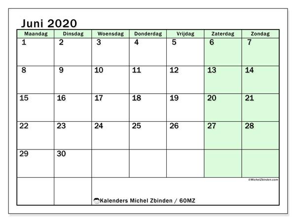 Kalender juni 2020, 60MZ. Schema om gratis te printen.