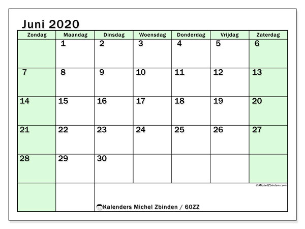 Kalender juni 2020, 60ZZ. Maandkalender om gratis te printen.