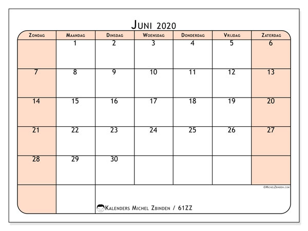 Kalender juni 2020, 61ZZ. Kalender om gratis te printen.