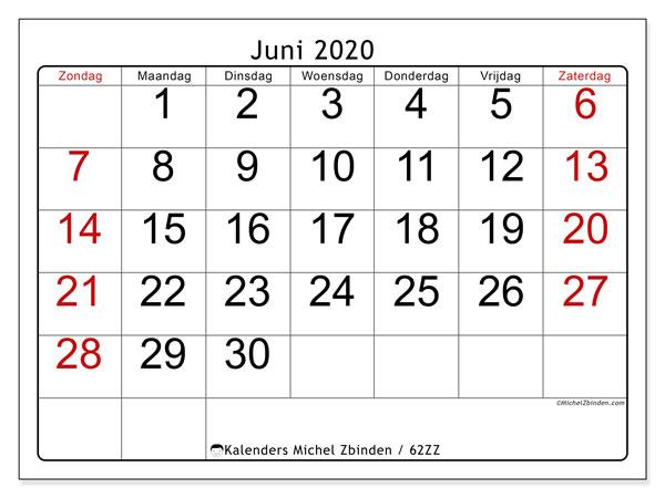 Kalender juni 2020, 62ZZ. Kalender voor de maand die gratis moet worden afgedrukt.