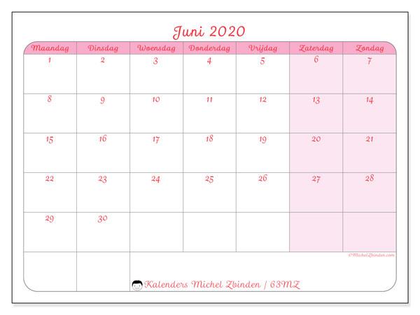 Kalender juni 2020, 63MZ. Schema om gratis te printen.