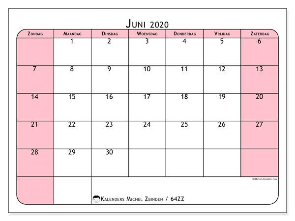Kalender juni 2020, 64ZZ. Schema om gratis te printen.