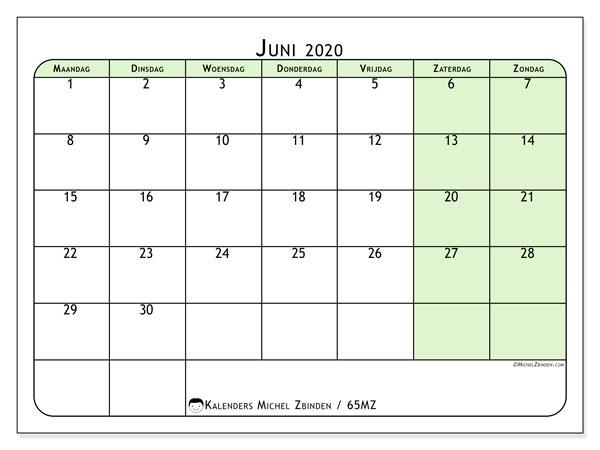 Kalender juni 2020, 65MZ. Kalender om gratis af te drukken.