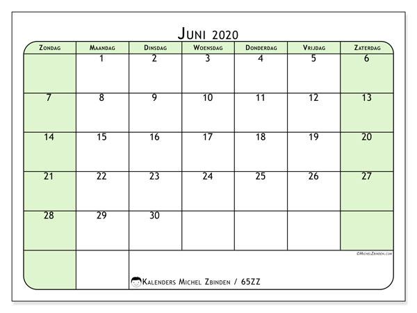 Kalender juni 2020, 65ZZ. Maandkalender om gratis te printen.