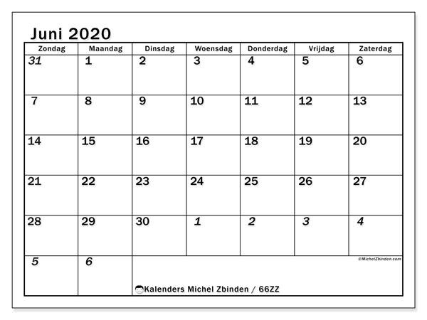 Kalender juni 2020, 66ZZ. Kalender om gratis af te drukken.