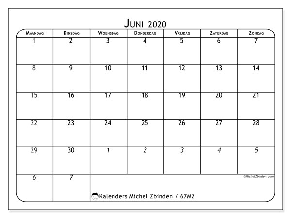 Kalender juni 2020, 67MZ. Kalender voor de maand die gratis moet worden afgedrukt.