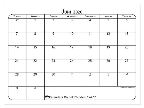 Kalender juni 2020, 67ZZ. Kalender voor de maand die gratis moet worden afgedrukt.