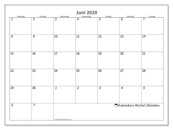 Kalender juni 2020, 70MZ. Kalender voor de maand die gratis moet worden afgedrukt.