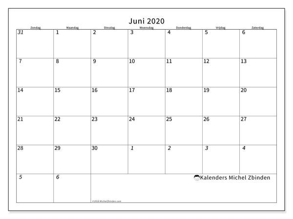 Kalender juni 2020, 70ZZ. Kalender voor de maand die gratis moet worden afgedrukt.