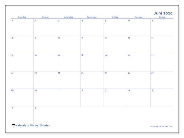 Kalender juni 2020, 73MZ. Schema om gratis te printen.