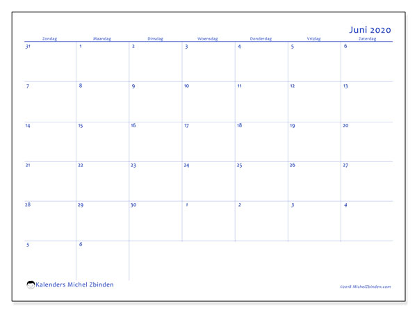 Kalender juni 2020, 73ZZ. Gratis afdrukbare kalender.