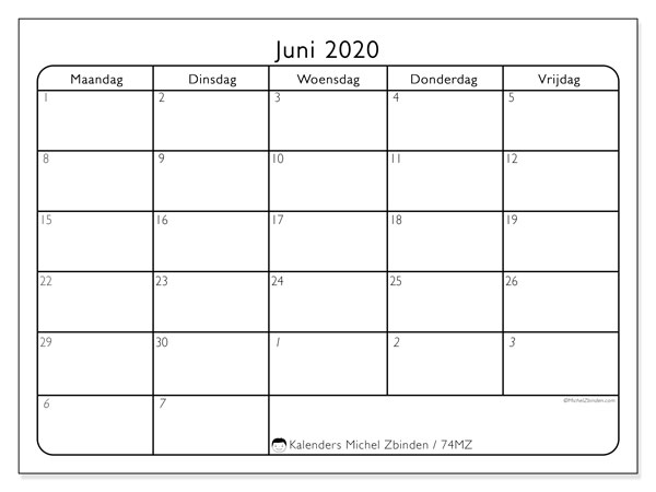 Kalender juni 2020, 74MZ. Kalender voor de maand die gratis moet worden afgedrukt.