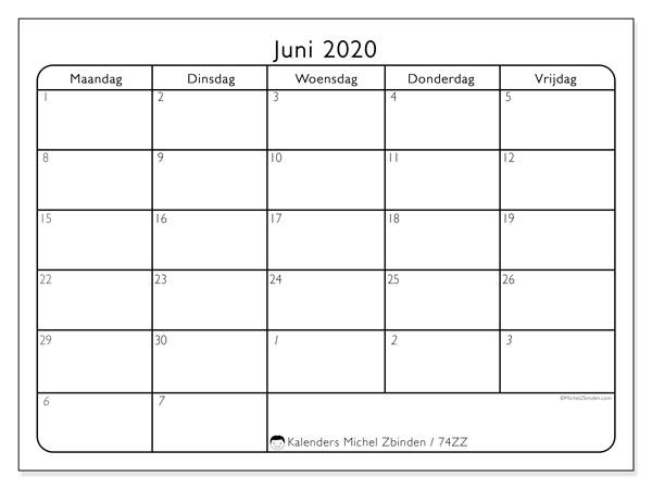 Kalender juni 2020, 74ZZ. Kalender om gratis af te drukken.