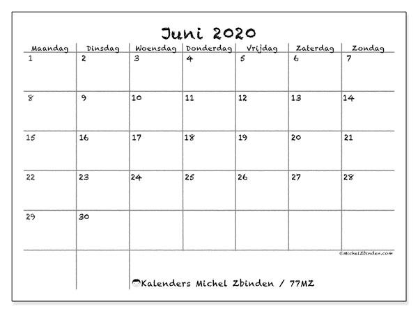 Kalender juni 2020, 77MZ. Gratis afdrukbare kalender.