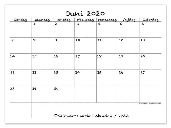 Kalender juni 2020, 77ZZ. Kalender om gratis te printen.