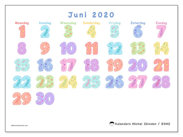 Kalender juni 2020, 83MZ. Gratis printbare kalender.