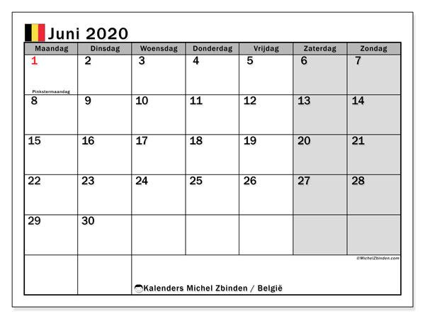 Kalender juni 2020 met de feestdagen van België. Kalender voor de maand die gratis moet worden afgedrukt.