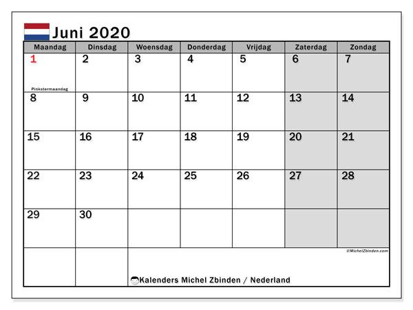 Kalender juni 2020 met de feestdagen van Nederland. Agenda om gratis te printen.