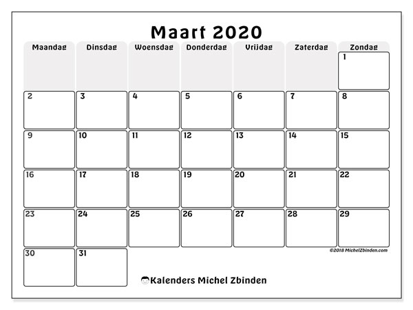 Kalender maart 2020, 44MZ. Kalender om gratis te printen.