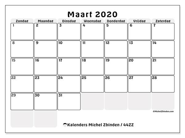 Kalender maart 2020, 44ZZ. Agenda om gratis te printen.