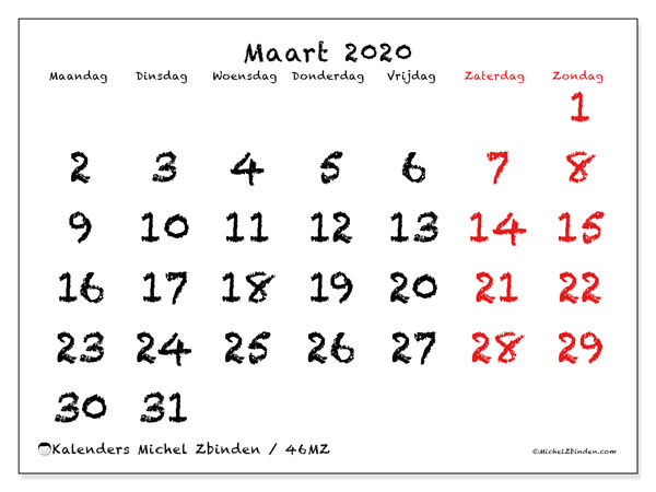 Kalender maart 2020, 46MZ. Maandkalender om gratis te printen.