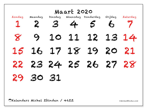 Kalender maart 2020, 46ZZ. Maandkalender om gratis te printen.
