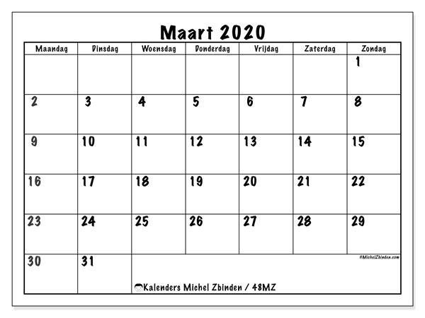 Kalender maart 2020, 48MZ. Gratis kalender om af te drukken.