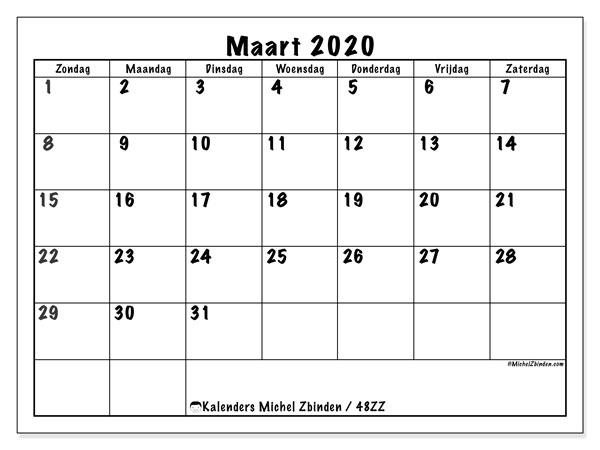 Kalender maart 2020, 48ZZ. Kalender om gratis af te drukken.