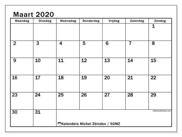 Kalender maart 2020, 50MZ. Gratis kalender om af te drukken.