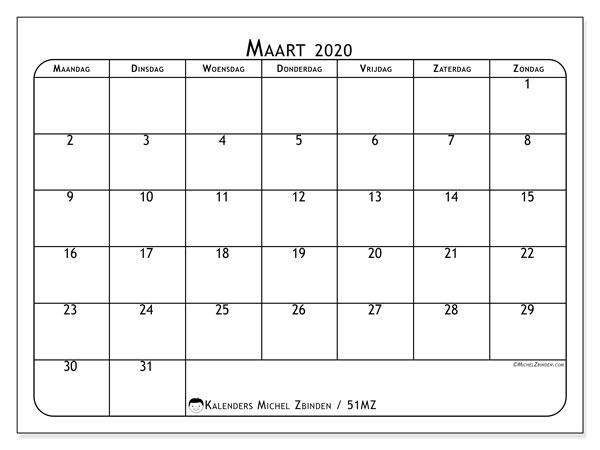 Kalender maart 2020, 51MZ. Kalender om gratis af te drukken.