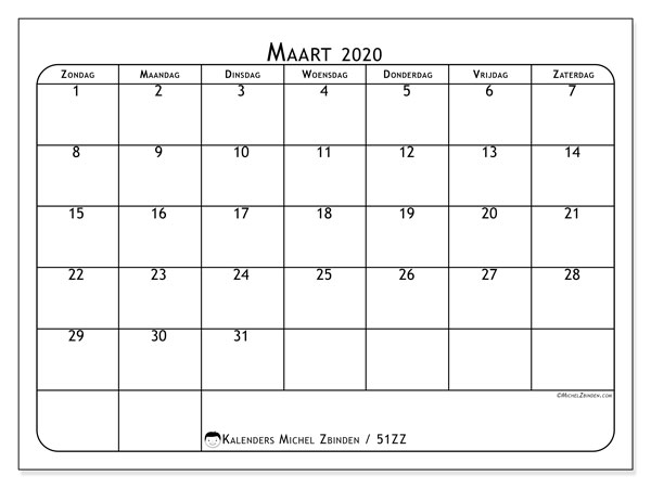 Kalender maart 2020, 51ZZ. Schema om gratis te printen.