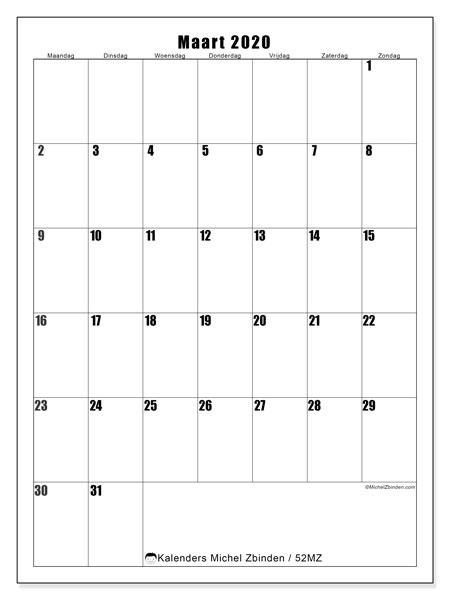 Kalender maart 2020, 52MZ. Kalender om gratis af te drukken.