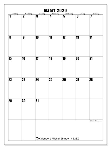 Kalender maart 2020, 52ZZ. Kalender om gratis te printen.