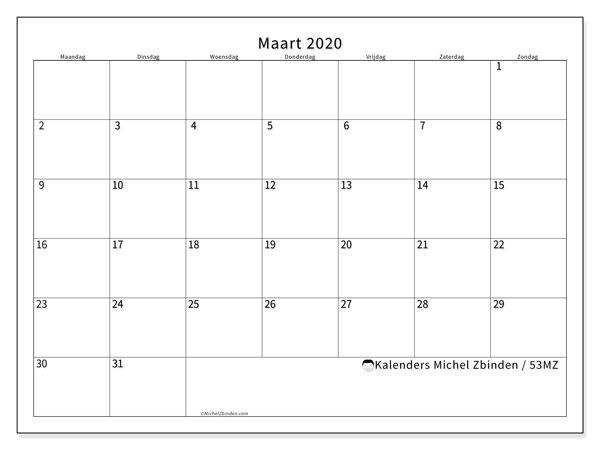Kalender maart 2020, 53MZ. Kalender om gratis af te drukken.