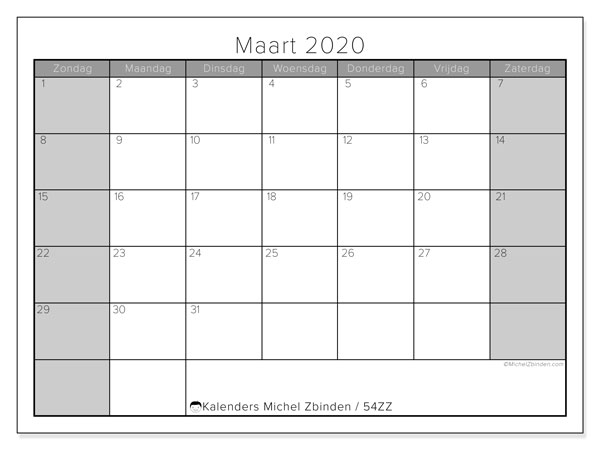 Kalender maart 2020, 54ZZ. Kalender voor de maand die gratis moet worden afgedrukt.