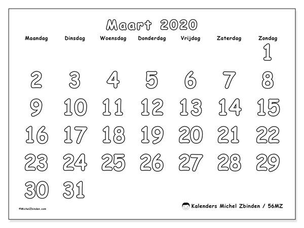 Kalender maart 2020, 56MZ. Kalender voor de maand die gratis moet worden afgedrukt.