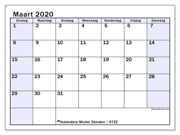 Kalender maart 2020, 57ZZ. Agenda om gratis te printen.