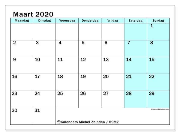Kalender maart 2020, 59MZ. Agenda om gratis te printen.
