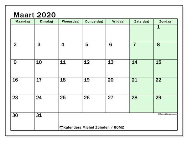 Kalender maart 2020, 60MZ. Gratis afdrukbare kalender.