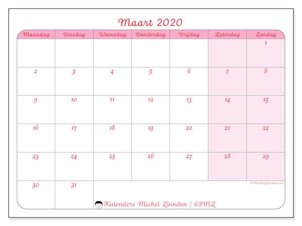 Kalender maart 2020, 63MZ. Schema om gratis te printen.