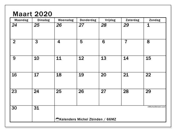 Kalender maart 2020, 66MZ. Gratis kalender om af te drukken.