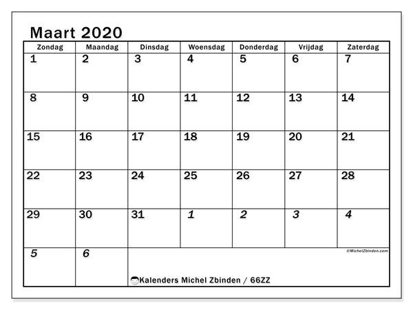 Kalender maart 2020, 66ZZ. Agenda om gratis te printen.