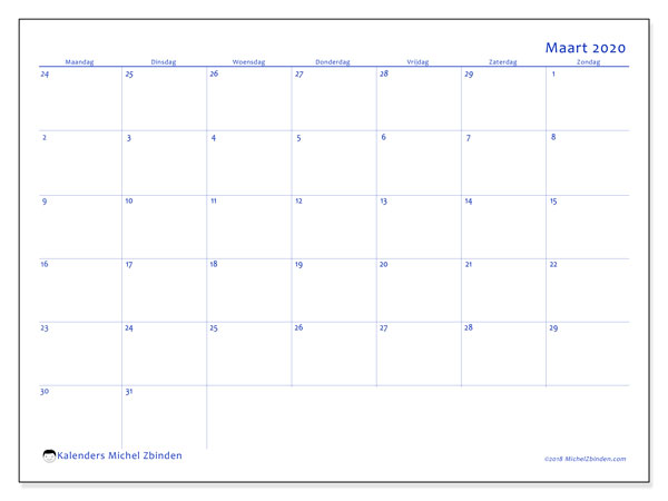 Kalender maart 2020, 73MZ. Kalender voor de maand die gratis moet worden afgedrukt.