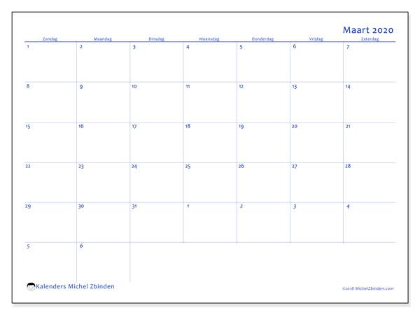 Kalender maart 2020, 73ZZ. Kalender voor de maand die gratis moet worden afgedrukt.