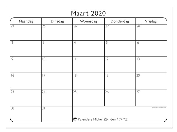 Kalender maart 2020, 74MZ. Gratis afdrukbare kalender.