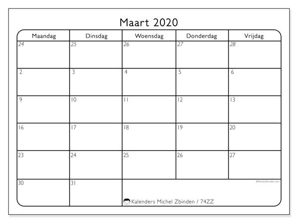 Kalender maart 2020, 74ZZ. Maandkalender om gratis te printen.