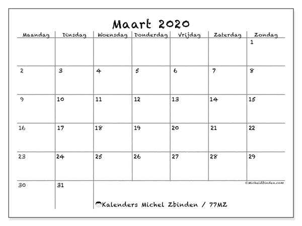 Kalender maart 2020, 77MZ. Maandkalender om gratis te printen.