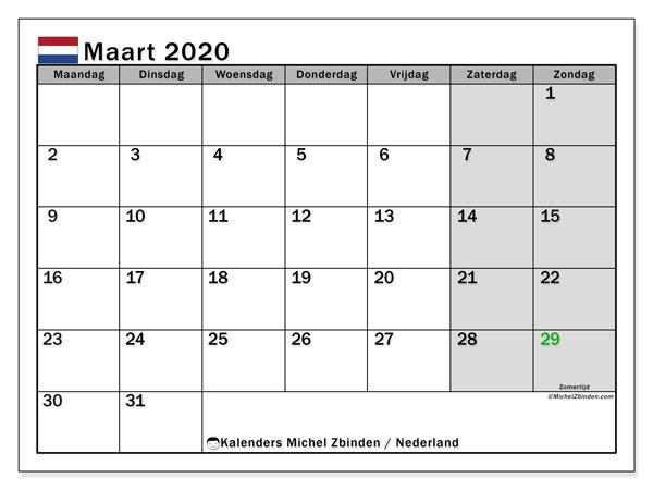 Kalender maart 2020, met feestdagen in Nederland. Kalender feestdagen om gratis te printen.