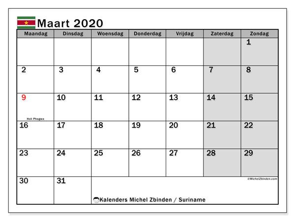 Kalender maart 2020, met feestdagen in Suriname. Kalender om gratis te printen met feestdagen.